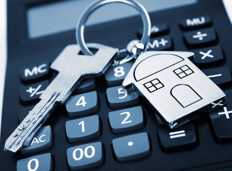 house keys and calculator