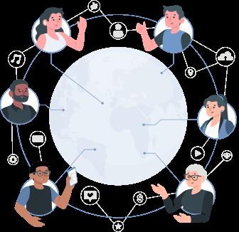 Representation of people communicating around the globe