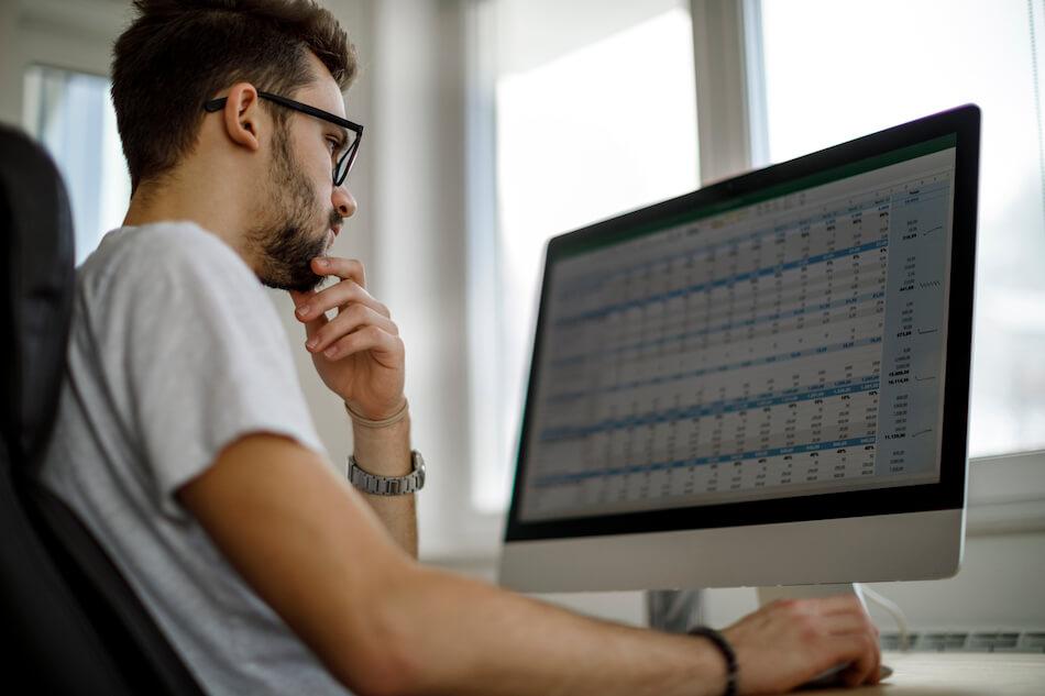man looking at spreadsheets